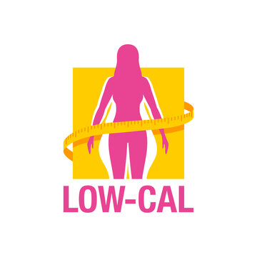 Low-cal (low calorie) dietary food products emblem - weight loss  female silhouette (fat and shapely figure) with measuring tape around - isolated vector logo