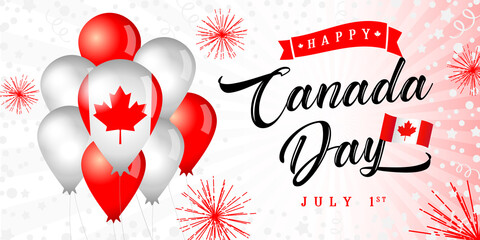 Happy Canada Day greeting banner. Isolated abstract graphic design template. Light, bright colors. Calligraphic lettering. Decorative brush calligraphy, flag balloons. Holiday red and white background