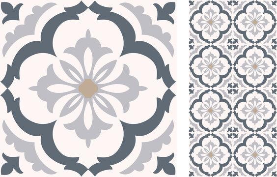 Seamless  Azulejo tile. Portuguese and Spain decor. Islam, Arabic, Indian, Ottoman motif. Vector Hand drawn background