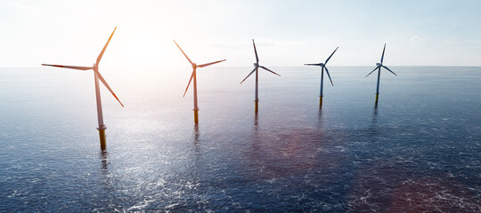 Poster Pierre, Sable Offshore wind turbines farm on the ocean. Sustainable energy