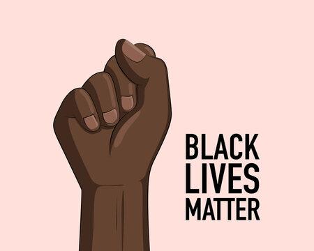 Black lives matter banner design with fist. Campaign against racial discrimination of dark skin color. Vector Illustration.