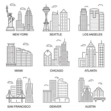 Usa Cities Sign Contour Linear Icon Set. Vector