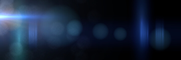 intense blue and mainly off screen lens flare overlay texture with bokeh effect with black background panorama banner