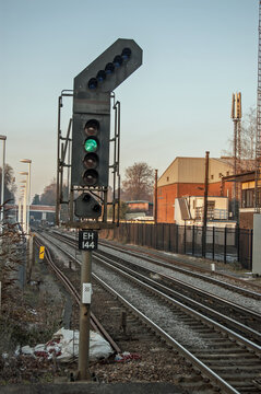 Green or Clear signal on a railway line in Hampshire