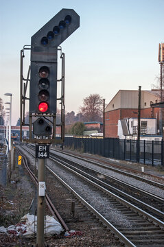 Red danger signal on UK Railway line