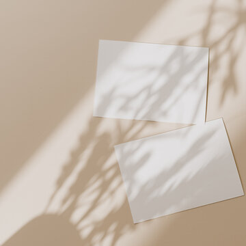 Blank paper sheet cards with mockup copy space with sunlight shadow on beige background. Minimal business brand template. Flat lay, top view