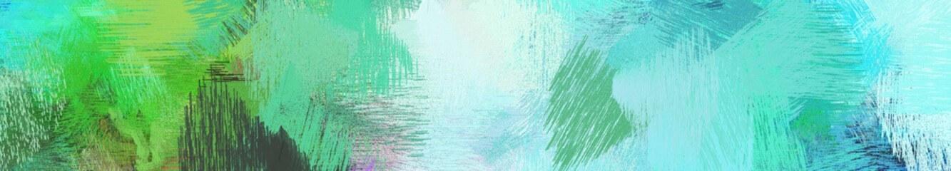 Wall Murals Green coral wide landscape graphic with creative brush strokes background with medium aqua marine, aqua marine and light cyan. can be used for wallpaper, cards, poster or banner