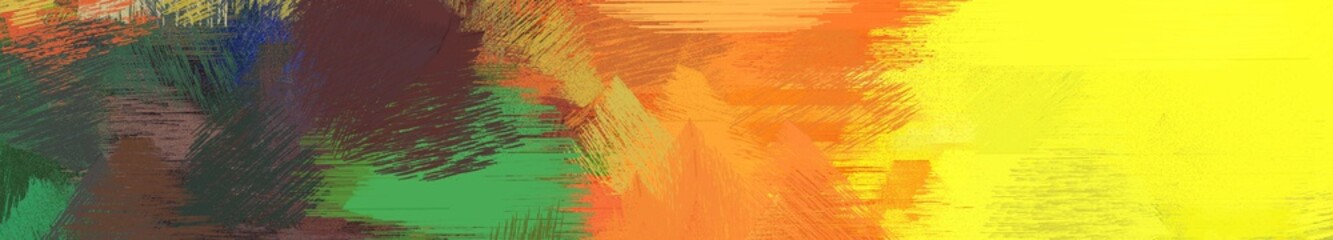 Aluminium Prints Yellow wide landscape graphic with abstract brush strokes background with vivid orange, dark slate gray and gold. can be used for wallpaper, cards, poster or banner