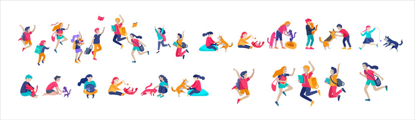 Illustration of children playing and doing