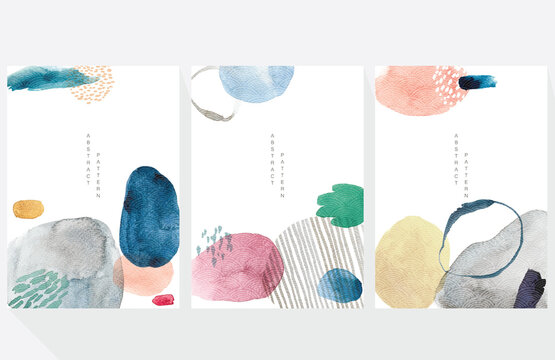 Abstract art background with watercolor texture vector. Contemporary abstract with Japanese wave pattern illustration.