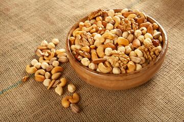Cashews, pistachios, almonds, walnuts, hazelnuts. Mixed nuts.