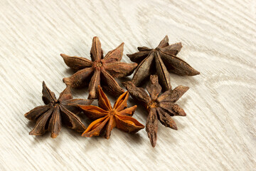 Star anise exotic spice on a wooden table