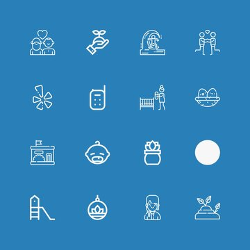 Editable 16 young icons for web and mobile