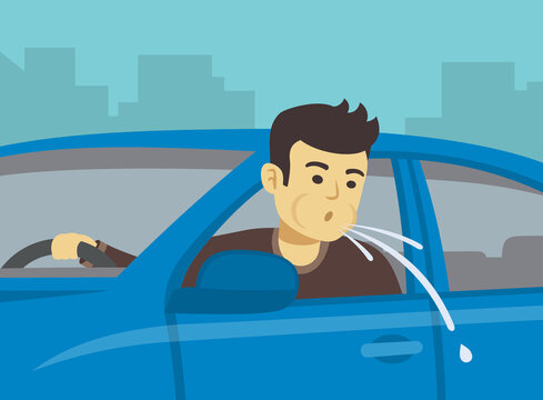 Young driver spitting on road. Close up view. Flat vector illustration.