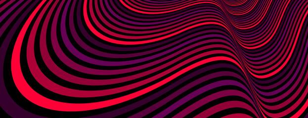 Fototapeta premium Kolorowe czerwone abstrakcyjne linie wektorowe psychodeliczna ilustracja złudzenia optycznego, surrealistyczne krzywe liniowe op art w perspektywie hiper 3D, szalony zniekształcony projekt, majaczenie halucynacji narkotykowej,