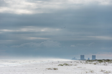 Empty Pensacola Beach in Florida. Cloudy and Windy Day.