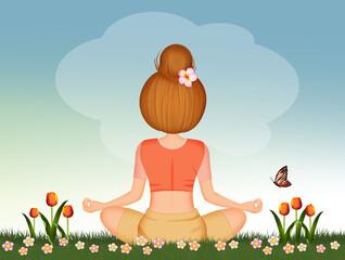 girl doing yoga on the grass