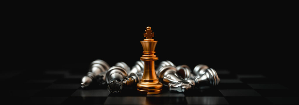 Business leader concept. Chess board game strategy planning and competition. Panoramic image