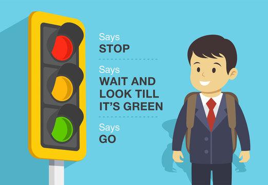 Traffic light and their meaning. Color identification. Flat vector illustration.