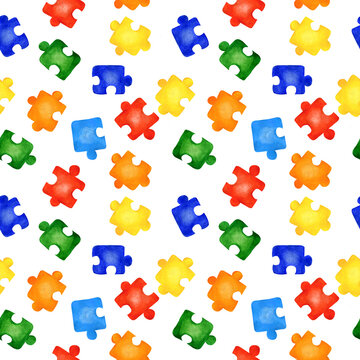 Seamless pattern with colorful jigsaw puzzles on white background. Watercolor hand drawn illustration. Concept of autism awareness, team building, children play board games, print colorful, summer.