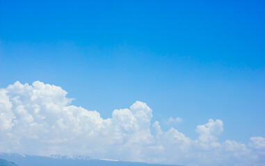 Canvas Prints Heaven blue sky and clouds, blue sky with clouds, clouds over the mountains
