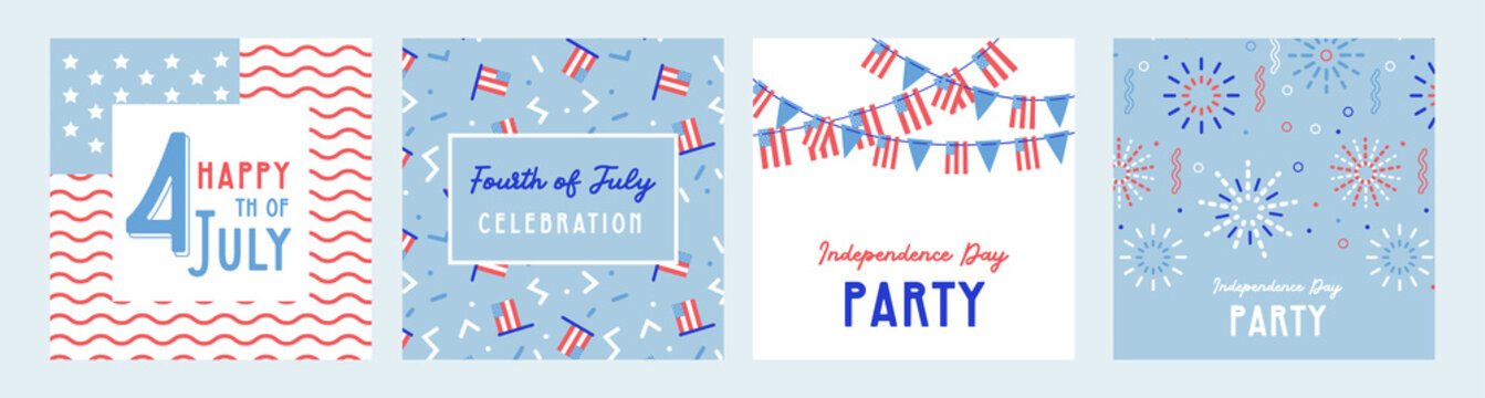 American Independence Day celebrations. greeting design with USA patriotic colors. Collection of greeting background designs, 4th of july, social media promotional content. Vector illustration