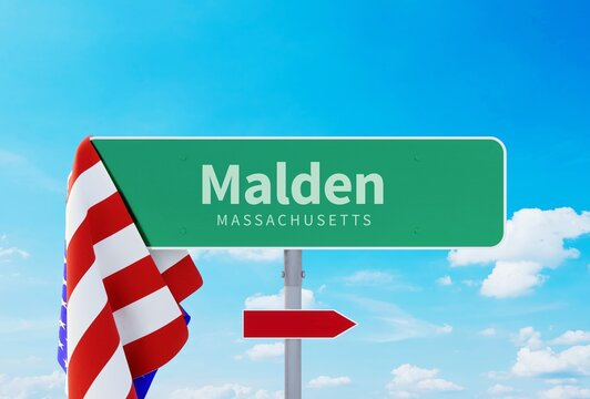 Malden – Massachusetts. Road or Town Sign. Flag of the united states. Blue Sky. Red arrow shows the direction in the city. 3d rendering