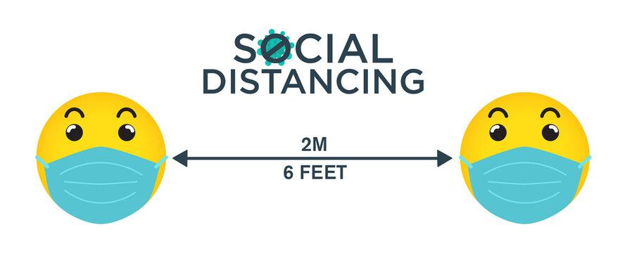 Emoji social distancing concept, prevent from covid-19, vector illustration