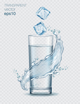 Transparent realistic vector long glass of water with ice cubes and water splash on light background