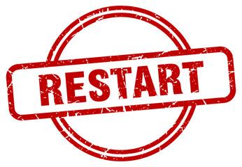 restart grunge stamp. restart round vintage stamp