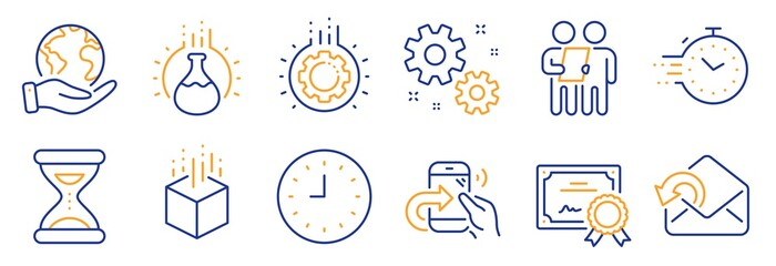 Set of Technology icons, such as Survey, Gear. Certificate, save planet. Augmented reality, Timer, Share call. Work, Clock, Chemistry experiment. Send mail, Time line icons. Vector