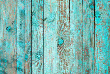Weathered blue wooden background texture. Shabby wood teal or turquoise green painted. Vintage...