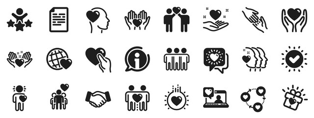 Interaction, Mutual understanding and assistance business. Friendship and love icons. Trust handshake, social responsibility, mutual love icons. Trust friends, partnership. Vector