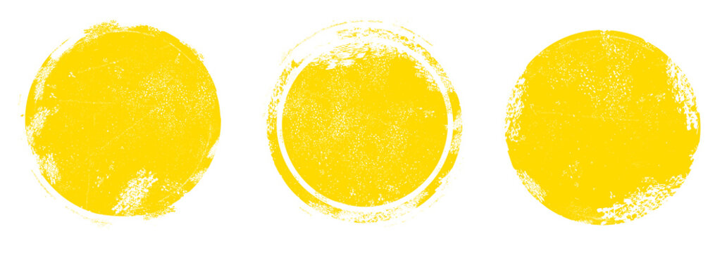 Circle grunge stamp set. Round vector isolated on white background. Yellow stamp vector. Collection for grunge badge, seal, ink and stamp design template. Round grunge hand drawn circle shape, vector