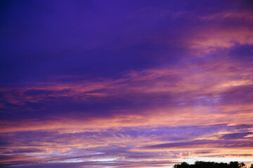 Dramatic sunset and sunrise sky. Sunset and sunrise orange and purple color sky background. Nature background