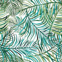Tropical palm green leaves seamless pattern background.