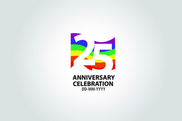 25 year anniversary celebration logotype with white number Emboss Style isolated on LGBT Colorful Flag on white grey background for invitation card, banner or flyer -vector