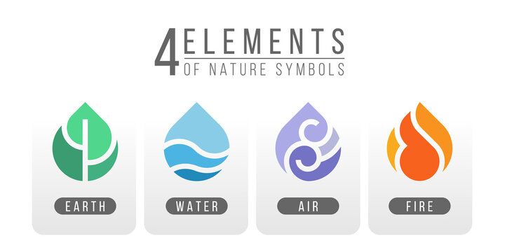 4 elements of nature symbols earth water air and fire with simple water drop icon sign style vector design