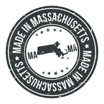 Made in Massachusetts State USA Quality Original Stamp Design Vector Art Tourism Souvenir Round