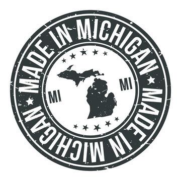Made in Michigan State USA Quality Original Stamp Design Vector Art Tourism Souvenir Round