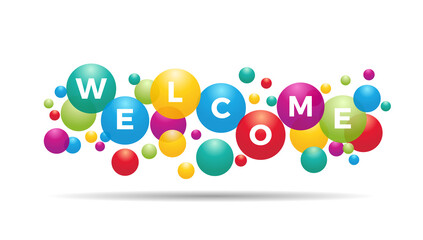 Deurstickers Wanddecoratie met eigen foto The word Welcome inside colored balloons, celebration, invitation card, greeting with text, vector design