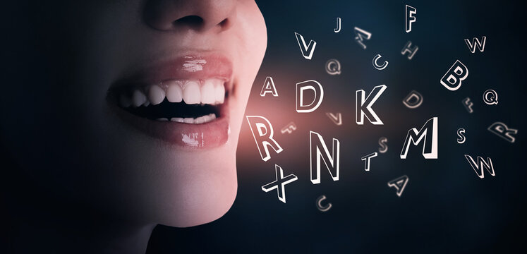 Smiling woman and letters on dark background, closeup. Banner design