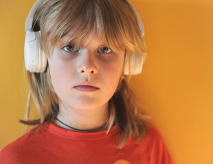 Portrait of a kid with headphones