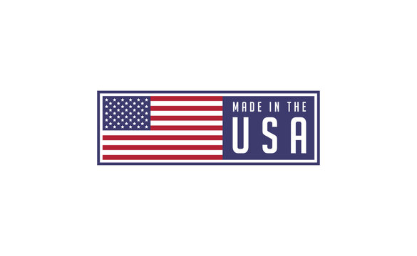 Made in USA badge. United States of America flag colors. American patriotism sign.