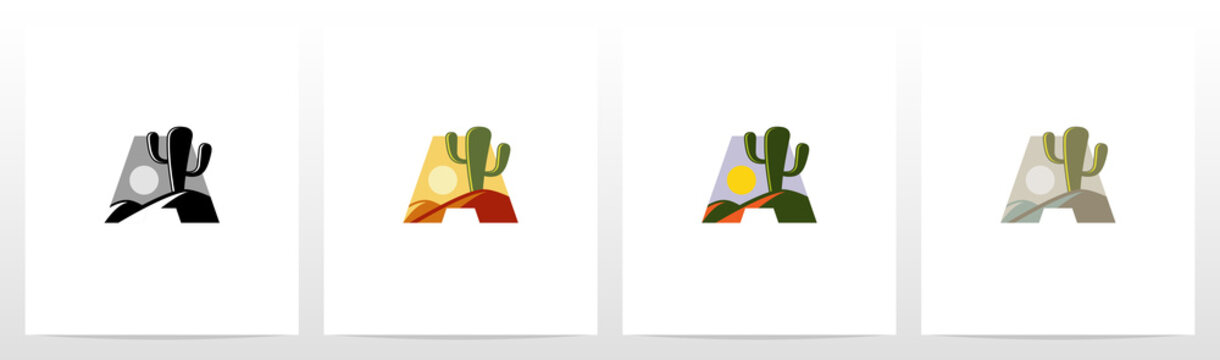 Cactus And Desert On Letter Logo Design A