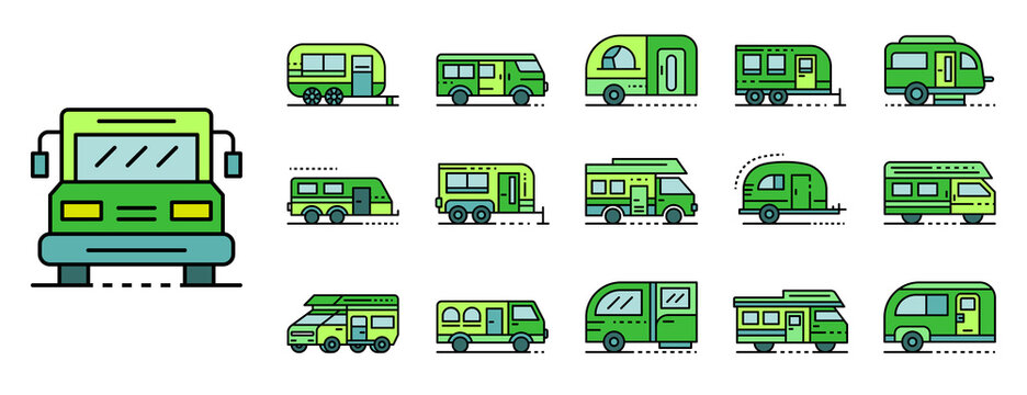 Motorhome icons set. Outline set of motorhome vector icons thin line color flat isolated on white