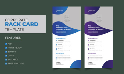 Corporate Creative Business Rack card or Dl flyer template Vector. DL Corporate business template for flyer. Layout with modern elements and abstract background. Creative flyer concept vector.