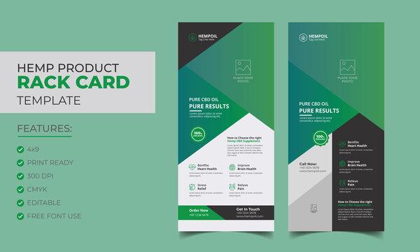 Hemp product rack card or dl flyer template. Cannabis sativa product sale rack card.  cbd dl flyer.