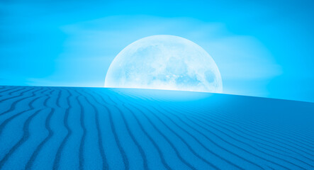 Wall Mural - Night sky with full moon in the clouds on the foreground sand dune