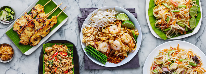 assorted thai food in flat lay composition